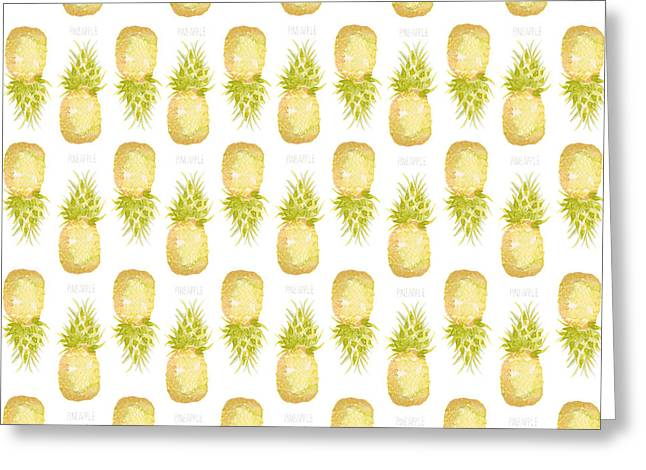 Pineapple Print Greeting Card by Cindy Garber Iverson