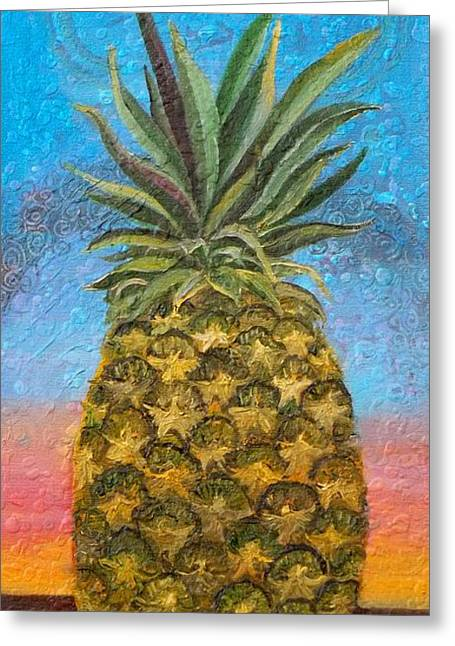 Anne Cameron Cutri Greeting Cards - Pineapple Sunrise OR Pineapple Sunset Greeting Card by Anne Cameron Cutri