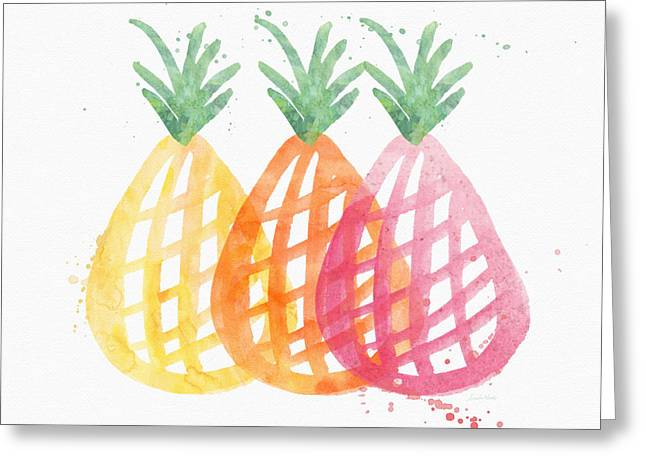 Smoothie Greeting Cards - Pineapple Trio Greeting Card by Linda Woods