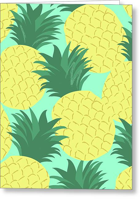 Pineapples For Days Greeting Card by Arte Flora Design Stuio