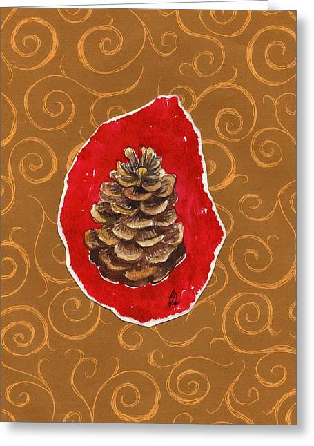 Pine Cones Mixed Media Greeting Cards - Pinecone Greeting Card by Carrie Auwaerter