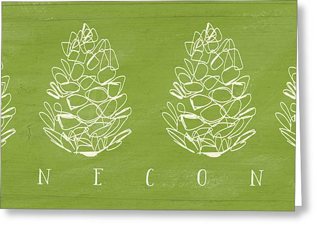 Pine Green Greeting Cards - Pinecones-Art by Linda Woods Greeting Card by Linda Woods