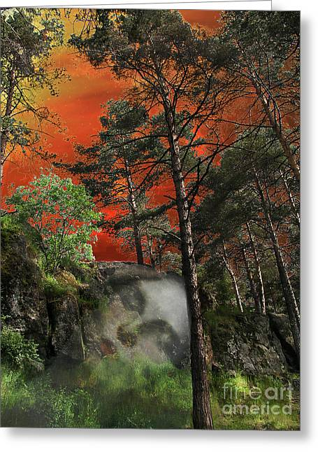 Fantasy Tree Greeting Cards - Pines Or Sleeping Earth Greeting Card by Olga K
