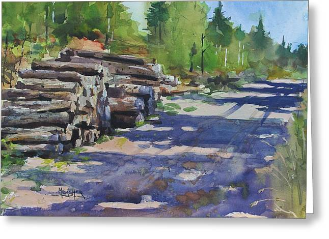 Piney Creek Trestle Road Greeting Card by Spencer Meagher