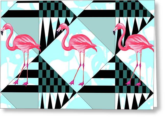 Ping Flamingo Greeting Card by Mark Ashkenazi