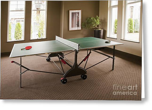 Ping Pong Greeting Cards - Ping Pong Table Greeting Card by Shannon Fagan