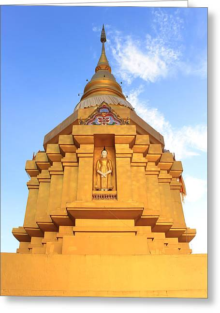 Minster Abbey Greeting Cards - Pinitphrasart Temple Front View Greeting Card by Sitthipong Mahasansombut
