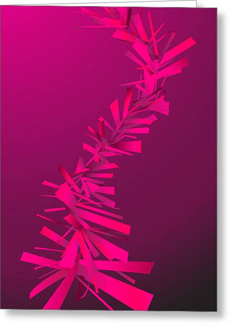 Geometrical Art Greeting Cards - Pink Abstract Lines Greeting Card by Dragana  Gajic