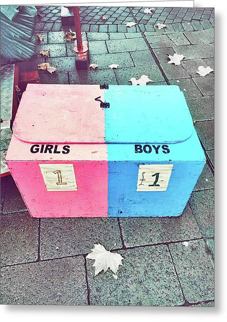 Pink And Blue Crate Greeting Card by Tom Gowanlock