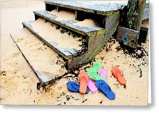 Michael Thomas Greeting Cards - Pink and Blue Flip Flops by the Steps Greeting Card by Michael Thomas