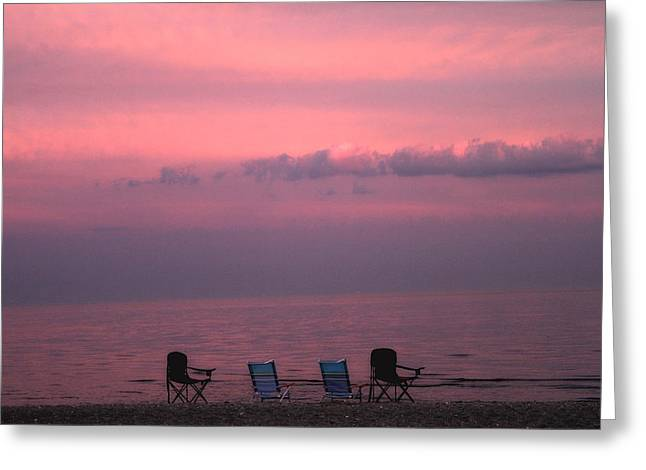 Empty Chairs Photographs Greeting Cards - Pink and Deserted Greeting Card by Karol  Livote
