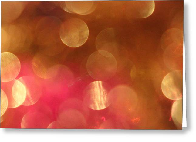Blur Photography Greeting Cards - Pink and Gold Shimmer- Abstract Photography Greeting Card by Linda Woods