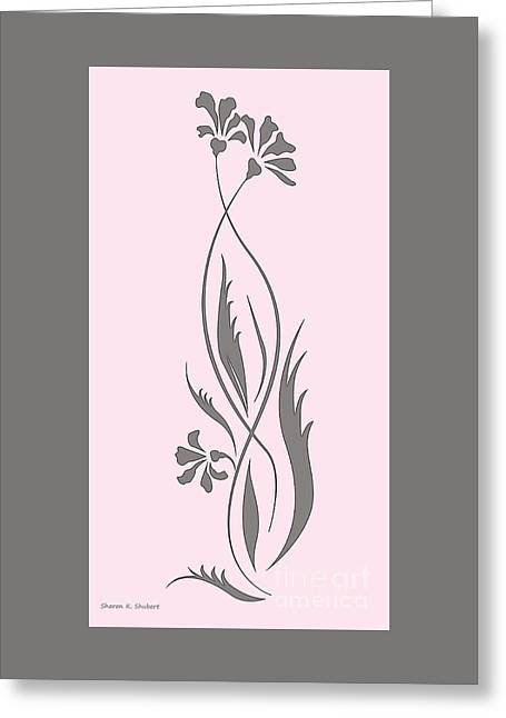Flower Design Greeting Cards - Pink And Gray Floral Design Greeting Card by Sharon K Shubert