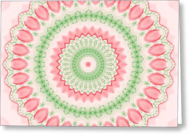 Hinduism Greeting Cards - Pink and Green Mandala Fractal 003 Greeting Card by Ruth Moratz