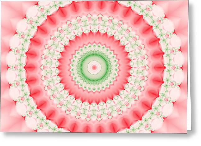 Fractal Greeting Cards - Pink and Green Mandala Fractal Greeting Card by Ruth Moratz