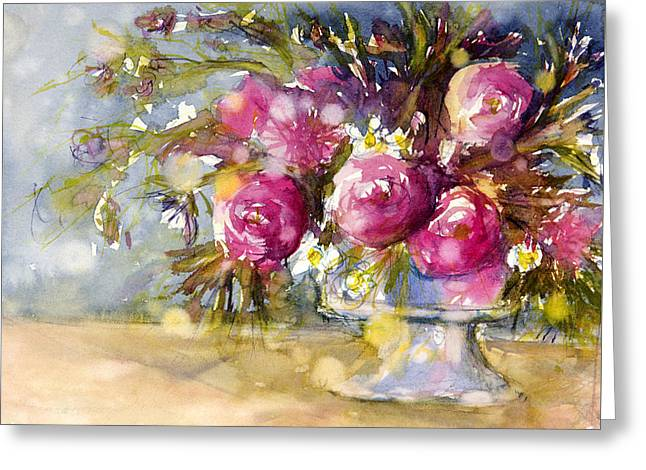 Vase Of Flowers Greeting Cards - Pink and Navy Greeting Card by Judith Levins