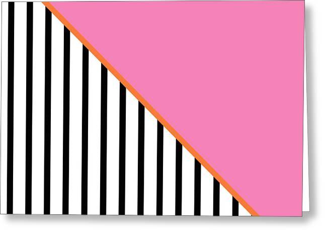 Pink And Orange And Black Geometric Greeting Card by Linda Woods