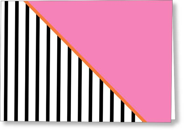 Art On Line Greeting Cards - Pink and Orange and Black Geometric Greeting Card by Linda Woods