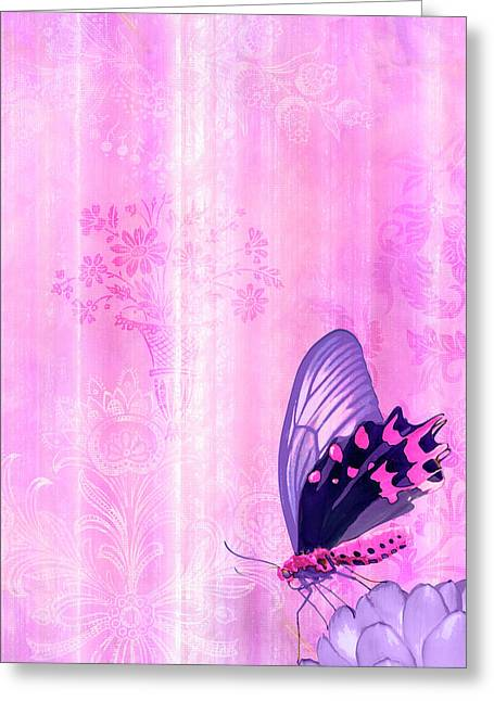 Tapestries Greeting Cards - Pink and Purple Butterfly Companions 2 Greeting Card by JQ Licensing