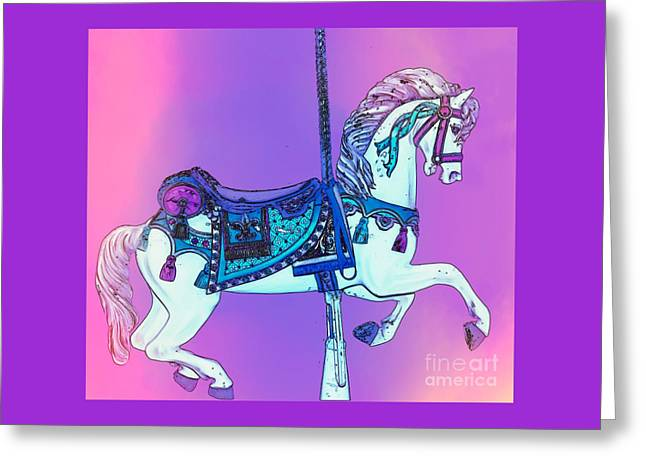 Pink And Purple Carousel Horse Greeting Card by Patty Vicknair