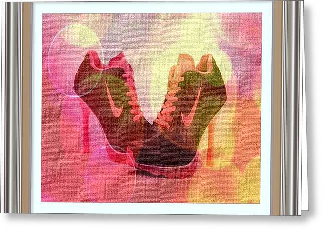 Sneakers Digital Art Greeting Cards - Pink and Black Sneakers in High Heels Greeting Card by Clive Littin