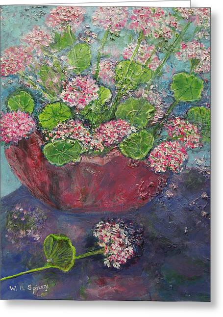 Reflection Of Geranium Flower Greeting Cards - Pink and White Geraniums in a Red Pottery Vase Greeting Card by William Spivey