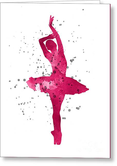 Pink Ballerina Watercolor Silhouette  Greeting Card by Joanna Szmerdt