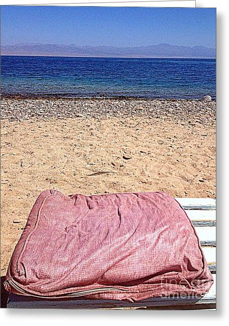 Most Favorite Photographs Greeting Cards - Pink Beach Yoga Pillow Greeting Card by Noa Yerushalmi