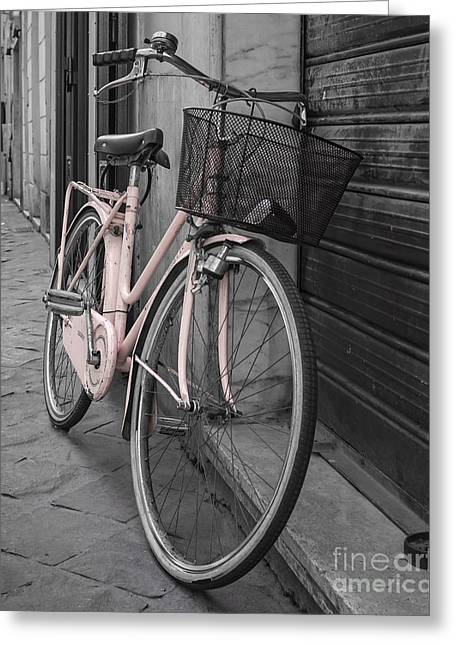 Handle Bar Greeting Cards - Pink Bicycle in Rome Greeting Card by Edward Fielding