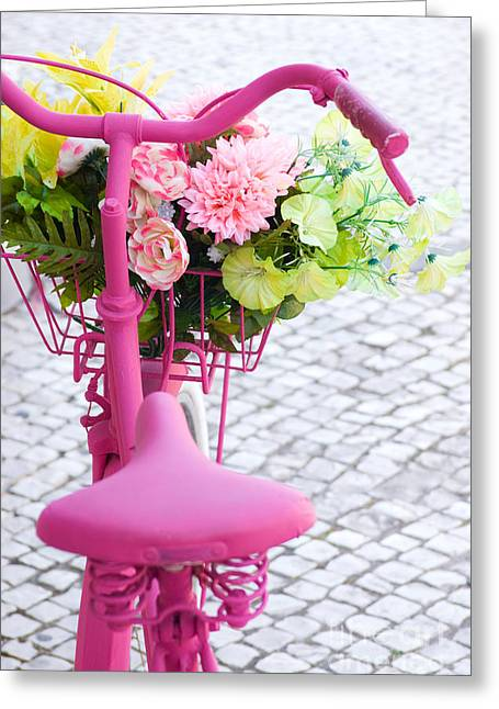 Pink Flower Greeting Cards - Pink Bike Greeting Card by Carlos Caetano