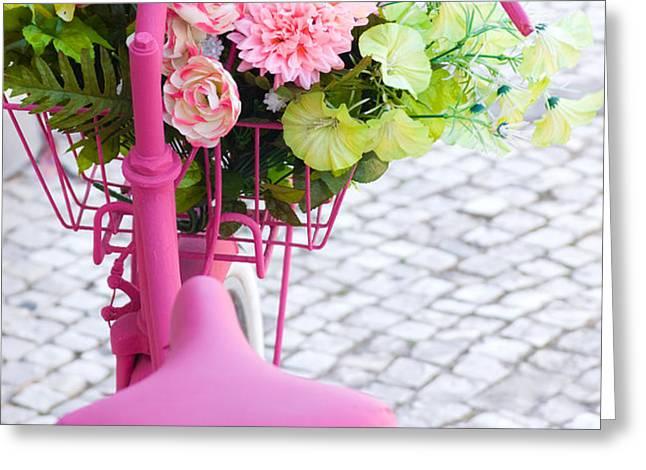 Pink Bike Greeting Card by Carlos Caetano