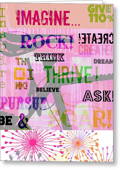 Award Winning Art Greeting Cards - Pink Bike Positive Inspiration Word Art Greeting Card by ArtyZen Studios - ArtyZen Home
