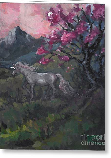 Cherry Blossom Unicorn Greeting Card by Kim Marshall