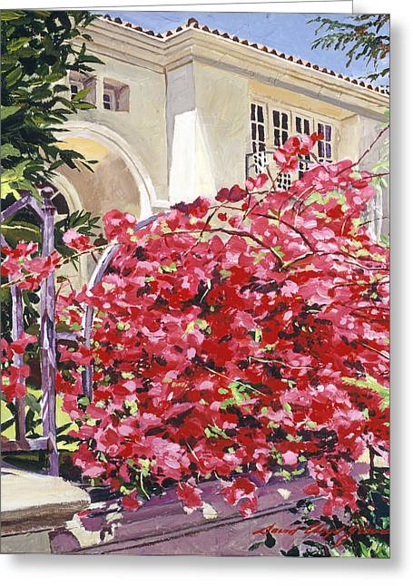 Beverly Greeting Cards - Pink Bougainvillea Mansion Greeting Card by David Lloyd Glover