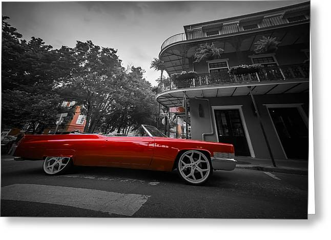 Michelle Greeting Cards - Red Cadillac Greeting Card by Michelle Saraswati