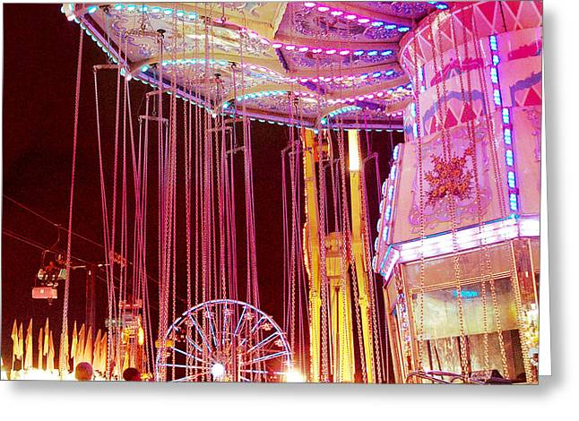 Festivals Fairs Carnival Photos Greeting Cards - Pink Carnival Festival Ferris Wheel Night Ride Greeting Card by Kathy Fornal