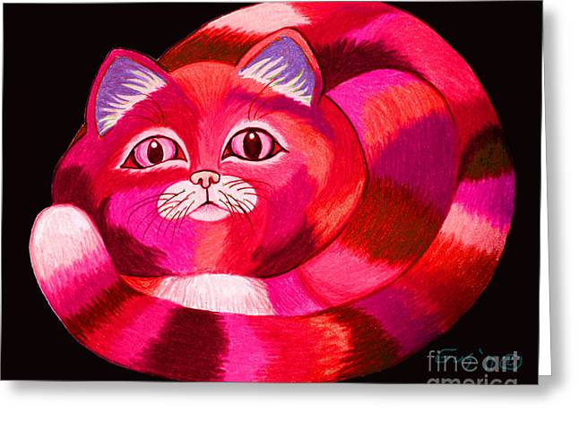 Cats Drawings Greeting Cards - Pink Cat Greeting Card by Nick Gustafson