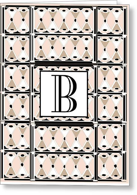 Recently Sold -  - Shower Head Greeting Cards - Pink Champagne Gatsby Monogram  B Greeting Card by Cecely Bloom