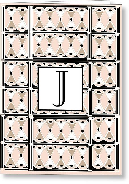 Letter J Greeting Cards - Pink Champagne Gatsby Monogram  J Greeting Card by Cecely Bloom