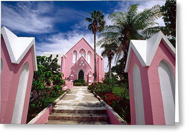 Subtropical Greeting Cards - Pink Church in Hamilton Bermuda Greeting Card by George Oze