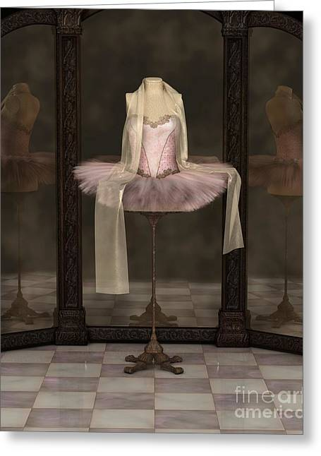 Pink Classical Ballet Tutu Reflections Greeting Card by Fairy Fantasies