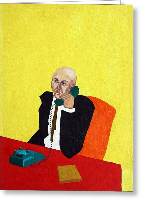 Best Sellers -  - Cubicle Greeting Cards - Pink Collar Man Greeting Card by Sheri Parris