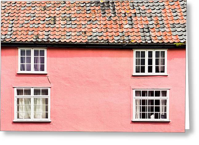 Old Neighbourhood Greeting Cards - Pink cottage Greeting Card by Tom Gowanlock