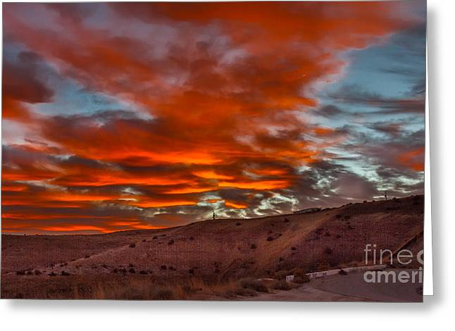 Haybale Greeting Cards - Pink Cotton Candy Sunrise Greeting Card by Robert Bales