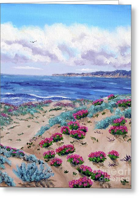 Landscape Artist Greeting Cards - Pink Daisies in Sand Dunes Greeting Card by Laura Iverson