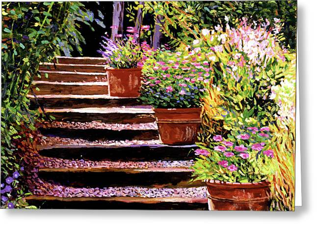 Pink Daisies Wooden Steps Greeting Card by David Lloyd Glover