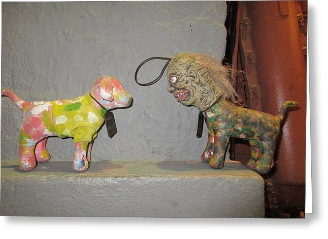 Toy Dog Greeting Cards - Pink Dog Meets Dog With Zombie Head Greeting Card by David Lovins