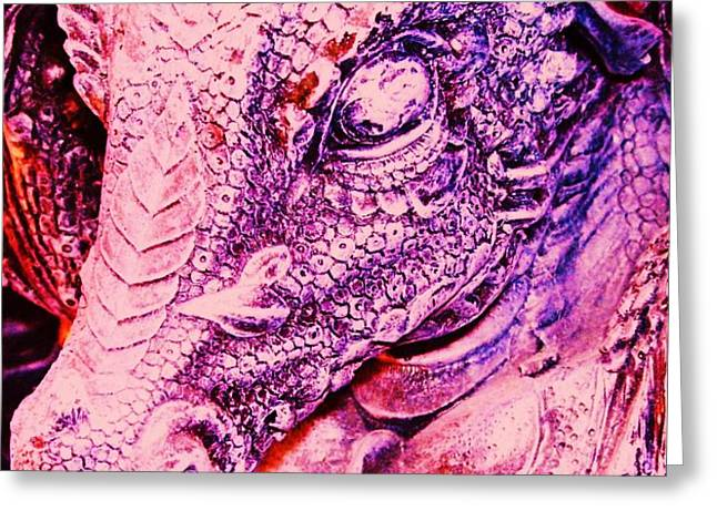 Pink-Dragon Greeting Card by Ramon Labusch