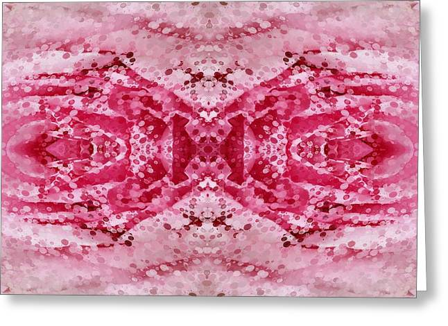 Sacred Tapestries - Textiles Greeting Cards - Pink Dreamings Greeting Card by Suzi Freeman
