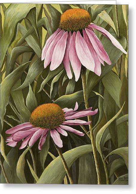 Pink Echinaceas Greeting Card by Mary Ann King